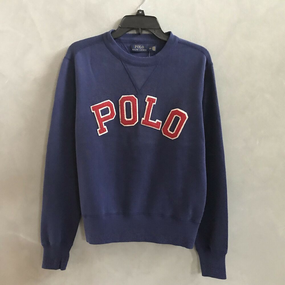 Details about NWT Polo Ralph Lauren Men Long sleeve Sweater Navy Shirt Red  POLO letter New 513897b71f8c