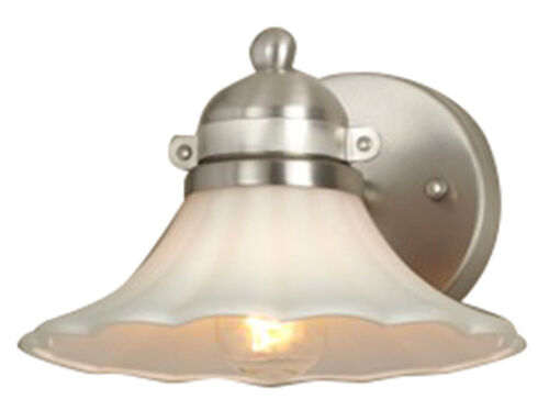 Hampton Bay 2 Light Chrome Bath Light 05659: 1 Light Vanity Bathroom Lighting Wall Sconce White Glass