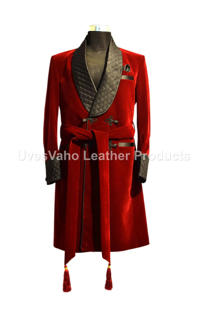 Men Elegant Luxury Designer Quilted Belted Smoking Jacket Party Wear