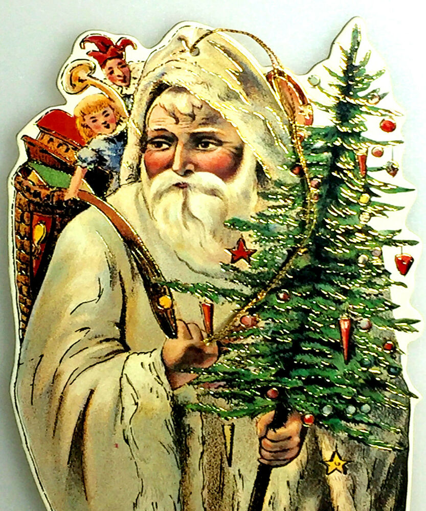 """Victorian Father Christmas Decorations: VICTORIAN SANTA 9"""" FATHER CHRISTMAS ORNAMENT Rare! MINT"""