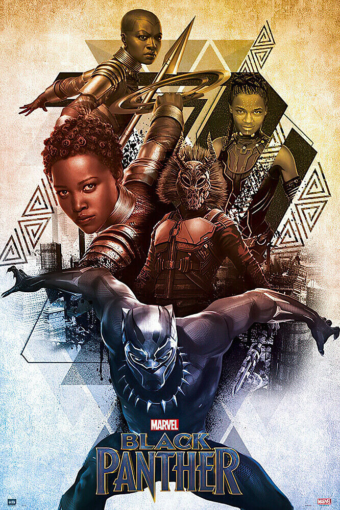 black panther marvel movie poster print characters size 24 x 36 ebay. Black Bedroom Furniture Sets. Home Design Ideas