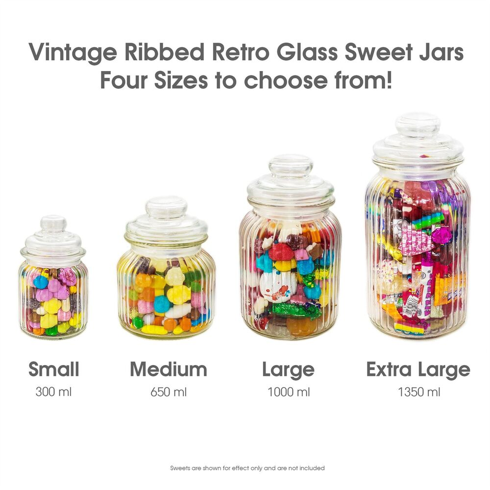 Unowall Vintage Ribbed Glass Sweet Jars Amp Lids Candy Food