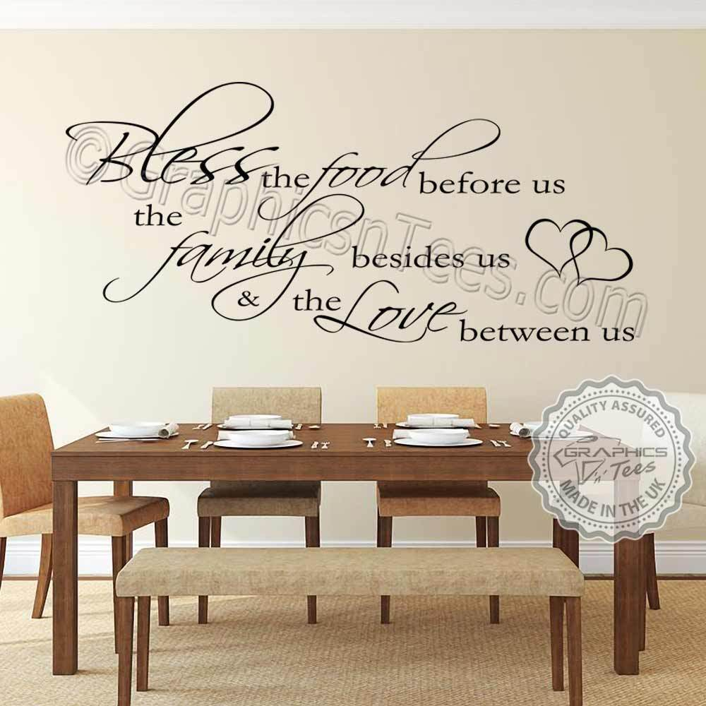 wall decals for dining room inspirational family wall sticker bless the food kitchen 5613