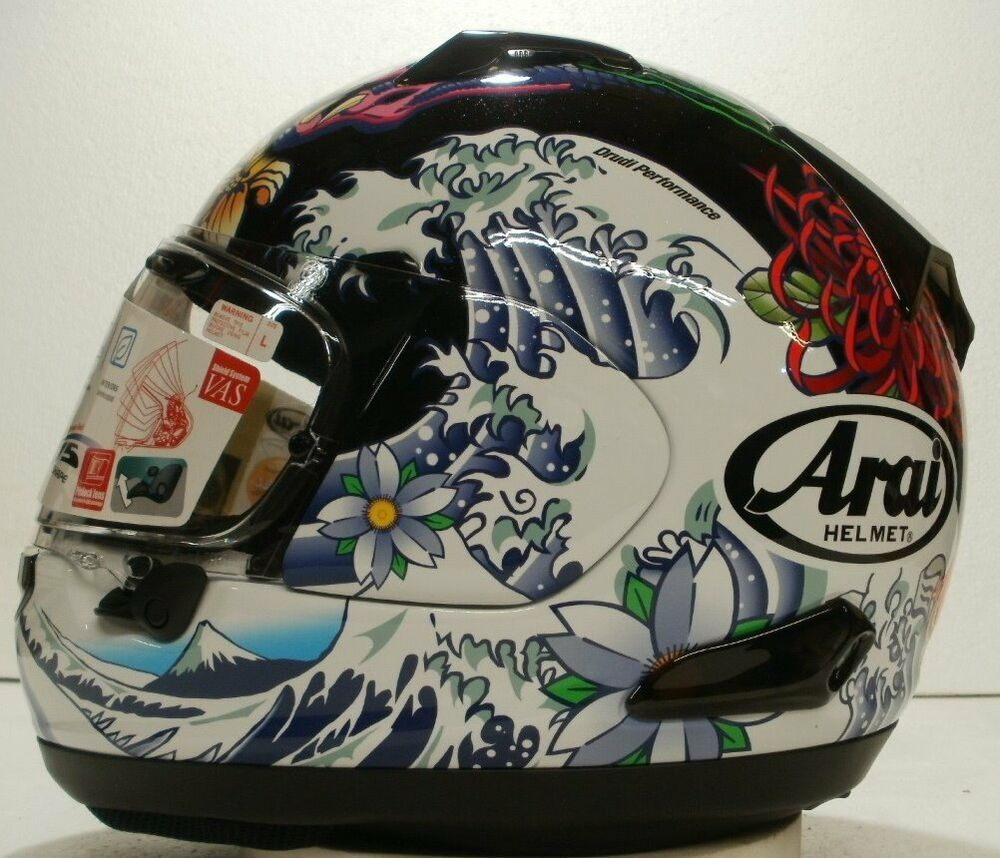 Arai Quantum X Oriental Gloss Black Dragon Koi Fish Wave 2017 Ltd Ed RX-Q