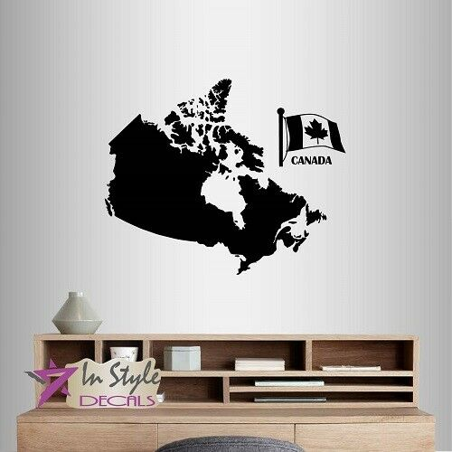 vinyl decal canada map canadian flag maple leaf country art wall