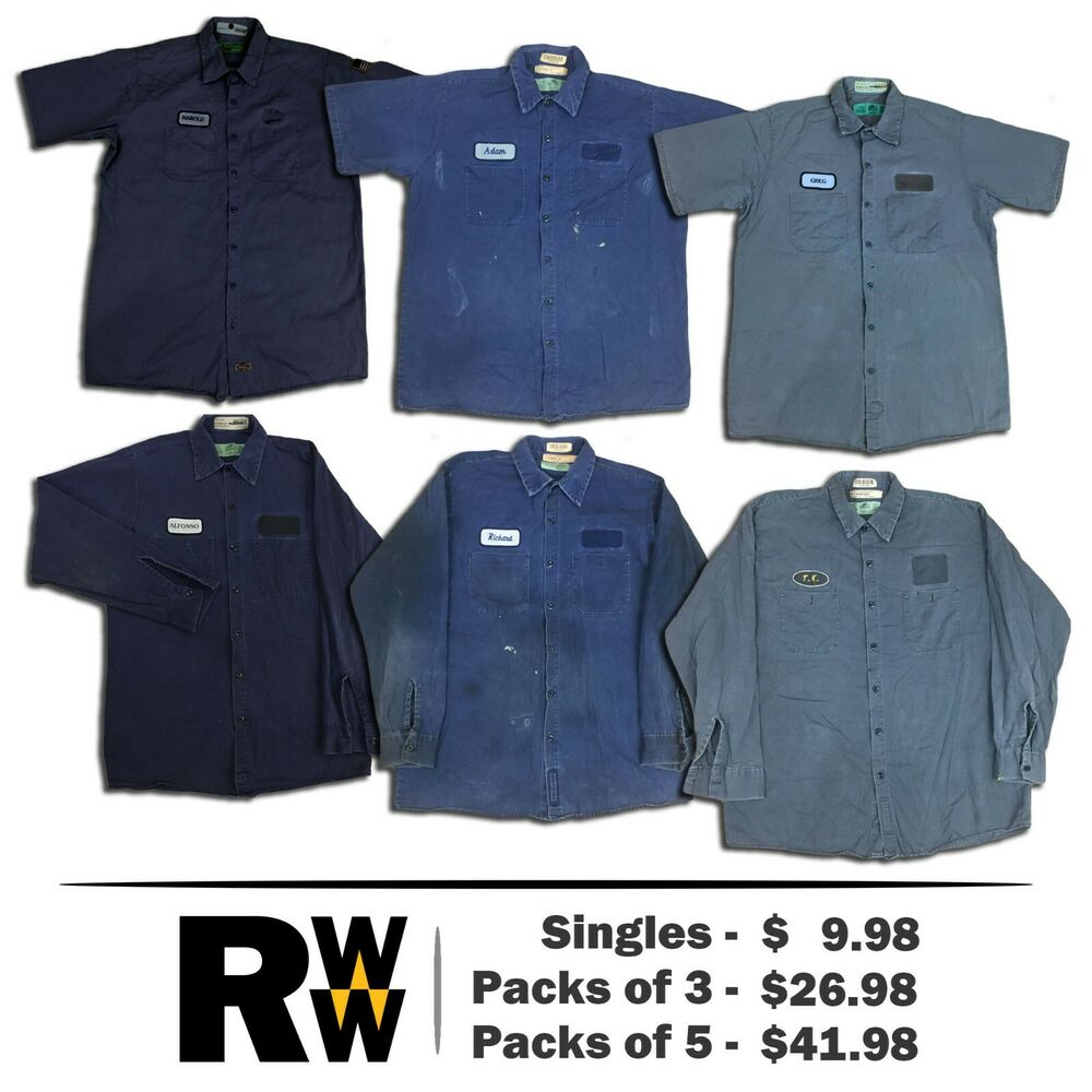 93121b12e75 Details about Red Kap Shirts Dark Colors Short Long Sleeve Cotton Work  Uniform PACK STARTS  20