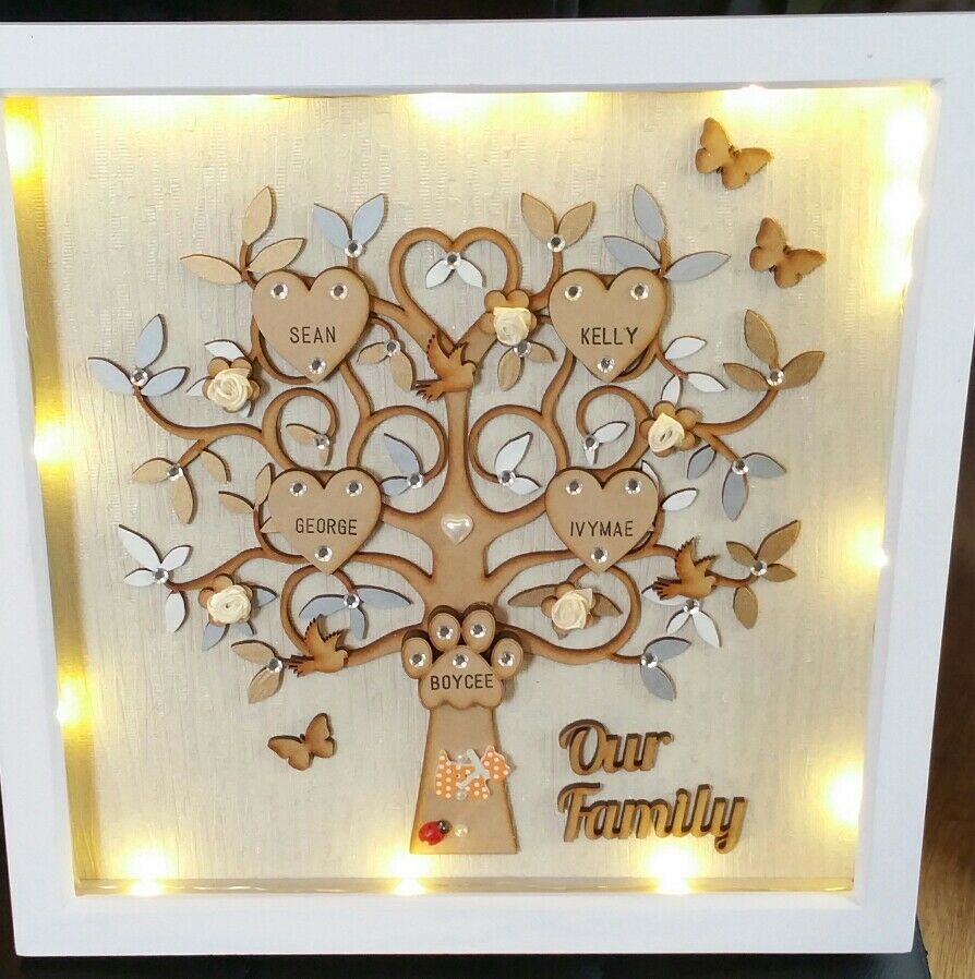 Personalised Family Tree Frame Size 13in X 13in With Led