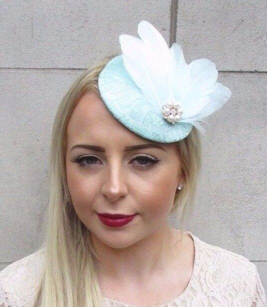 Details about Mint Green Rose Gold Cream Feather Fascinator Pillbox Hat  Hair Clip Races 3904 868debc95a5
