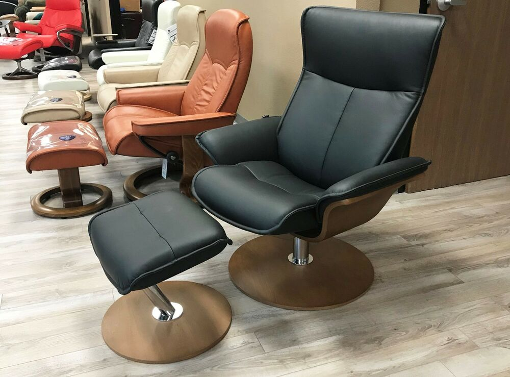New Fjords Spirit Leather Swivel Recliner Chair Norwegian