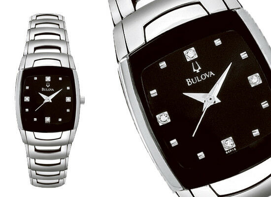 Details about Bulova 96P15 Black Diamond Embellished Dial Stainless Steel Women s  Watch 24a5babd30