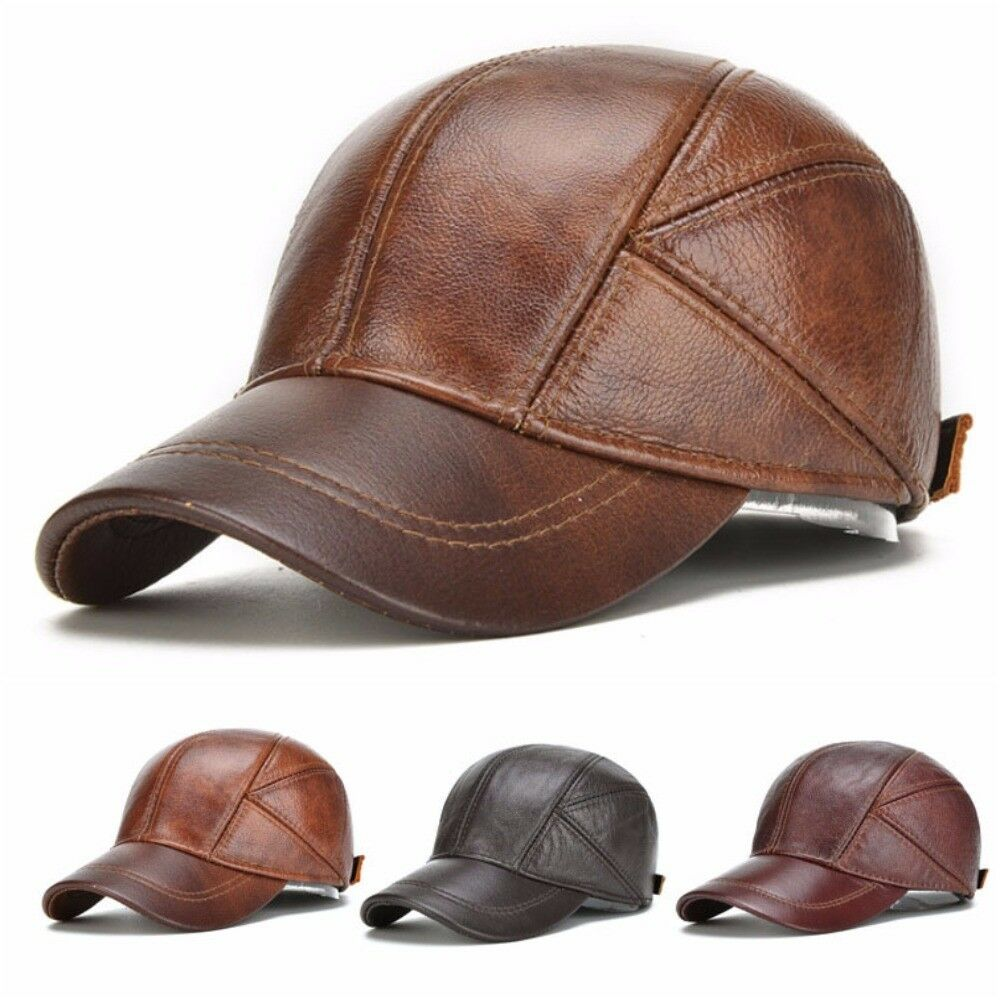 Leather Baseball Cap with Ear Flaps Mens Winter Hat Brown Leather Snapback  New 3218b568aff