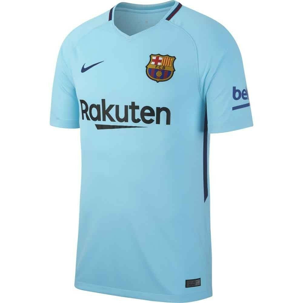 3e1d90dc6dc47 Details about Nike FC Barcelona Season 2017 - 2018 Away Soccer Jersey Blue  Kids - Youth