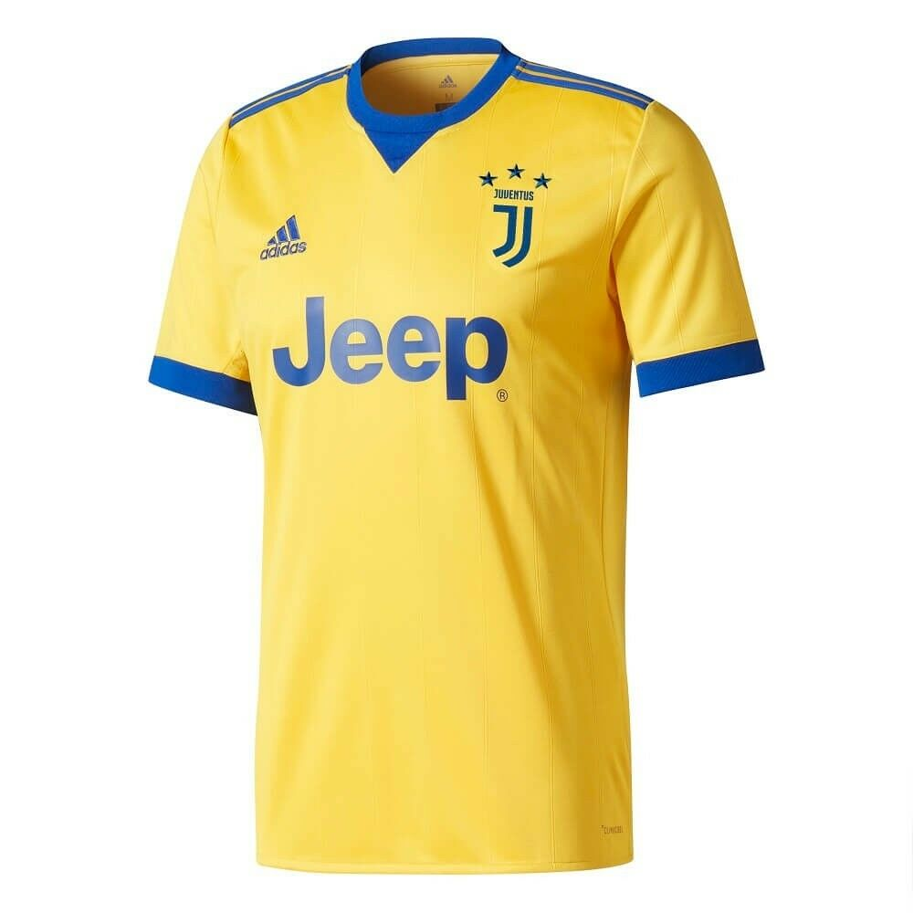 16197d2facc Details about adidas Juventus 2017 - 2018 Away Soccer Jersey New Yellow    Blue Kids - Youth