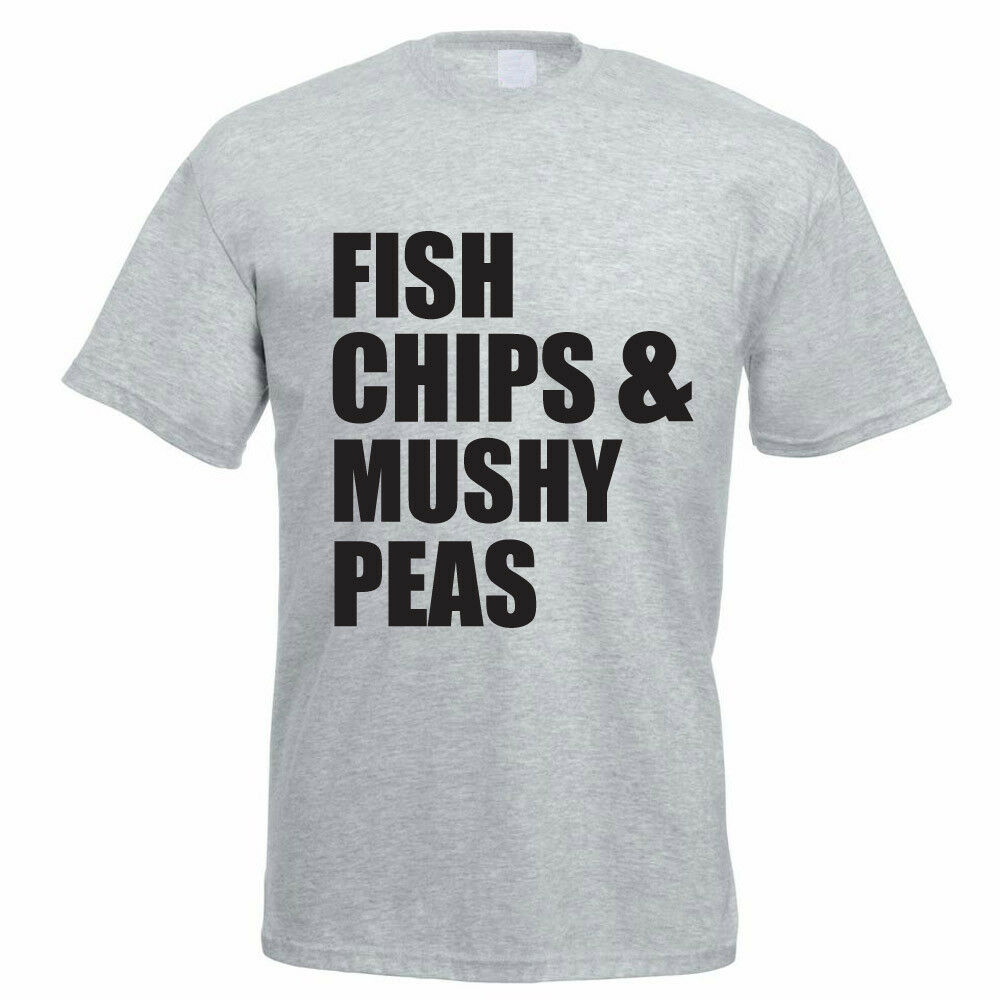 7247ce6d Details about Funny Food T-Shirt - FISH CHIPS & MUSHY PEAS - Father's Day  Gift Idea / Joke
