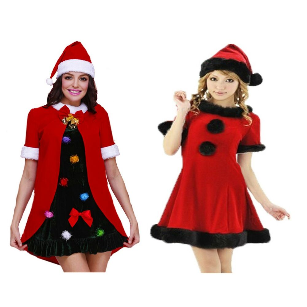 d7797ef837ef0 Ladies Christmas fancy dress black+red Santa or Christmas Tree costumes |  eBay