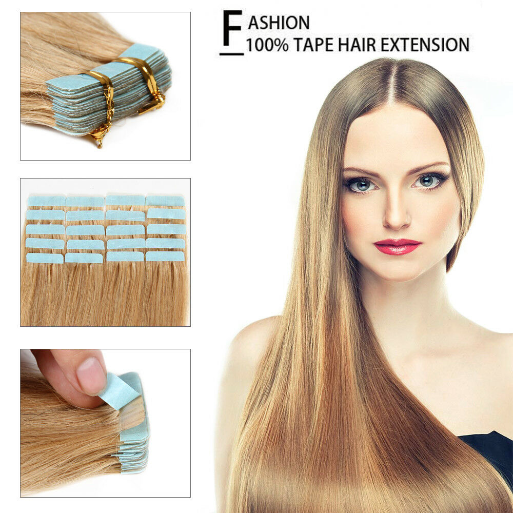 16 24 Inches 7a Remy Human Hair Extensions Weave Seamless Tape In