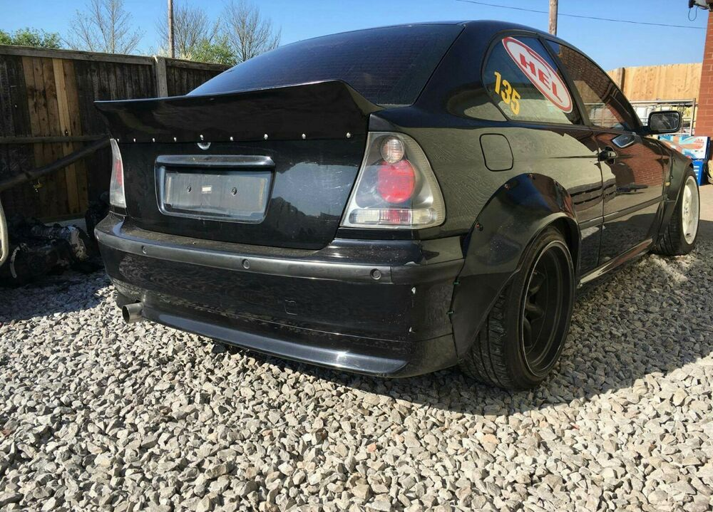 bmw e46 compact ti hatch rocket bunny style ducktail spoiler drift bodykit lwp ebay. Black Bedroom Furniture Sets. Home Design Ideas