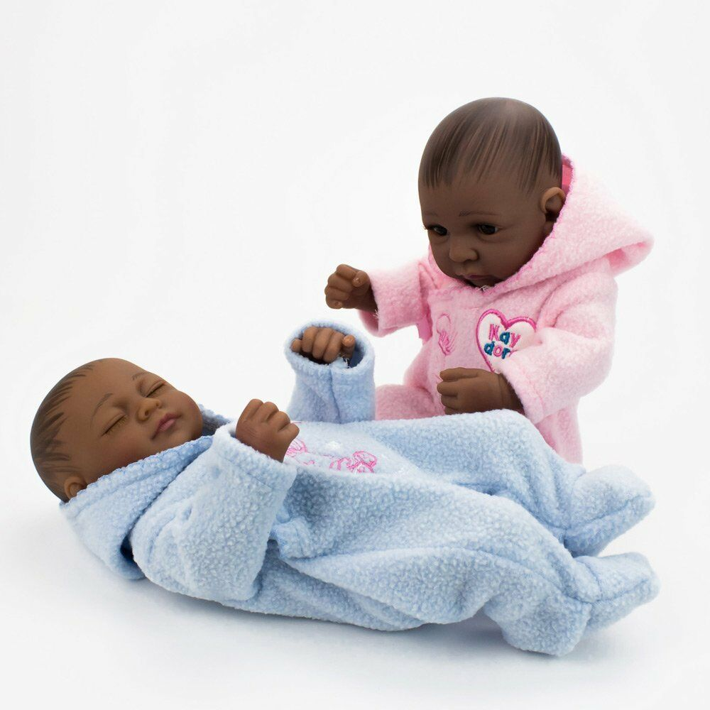 Details about 10african american dolls twins full silicone vinyl newborn baby black baby doll