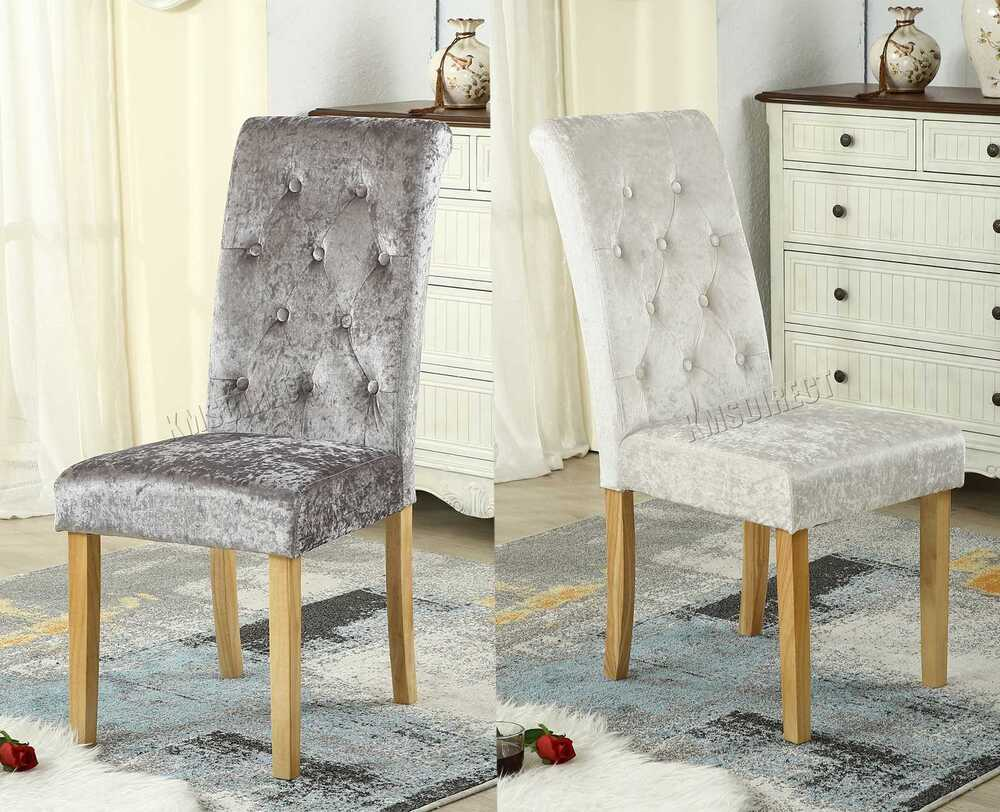 Grey Velvet High Back Dining Chairs: WestWood Crush Velvet Fabric Dining Chairs Scroll High