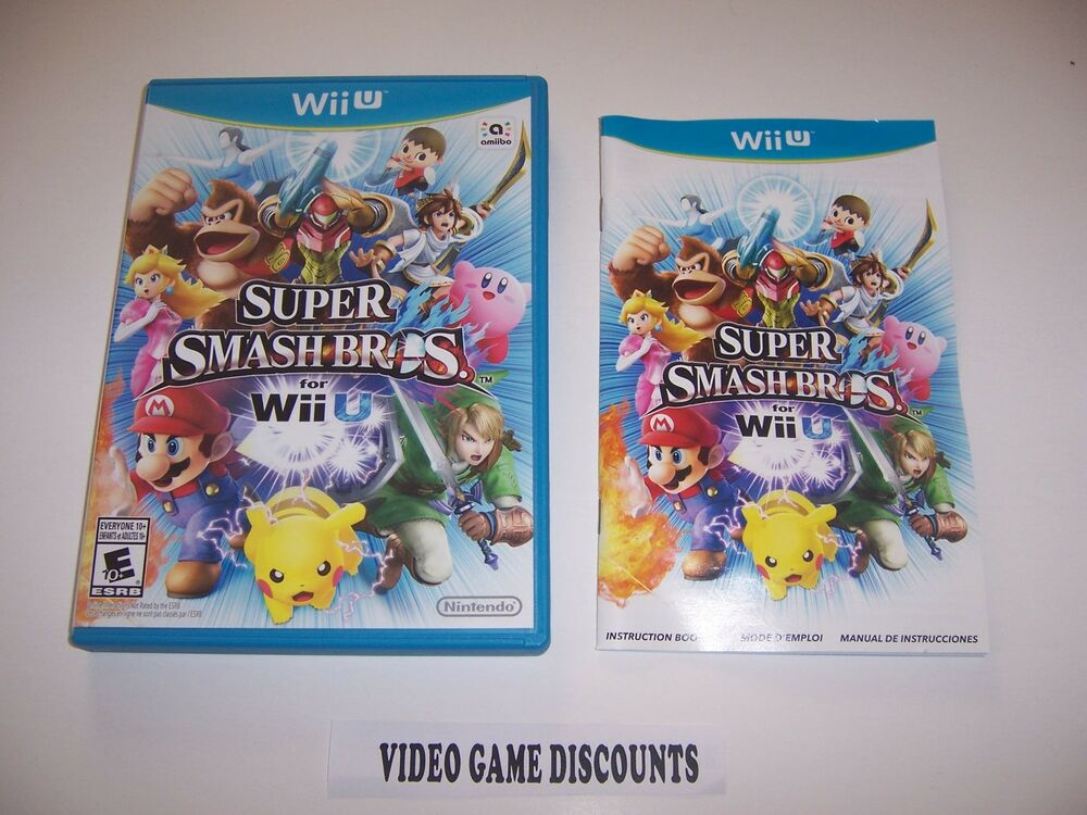 Original Box Case With Manual For Nintendo Wii U Wiiu Super Smash