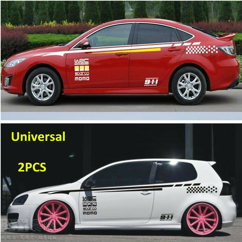 Details about 2pcs car styling whole body side bumper stickers vinyl decals stickers universal