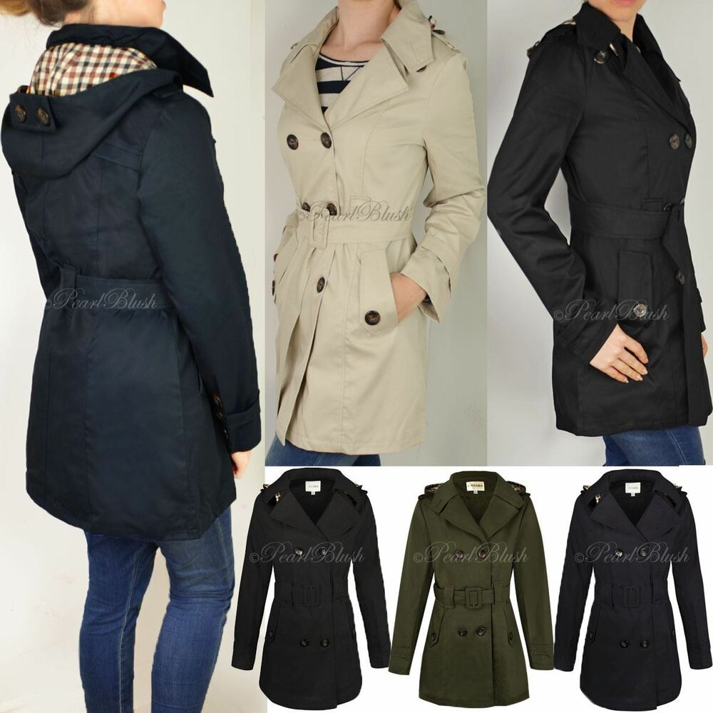 b910bac601b15 Details about WOMENS LADIES DOUBLE BREASTED MAC BELTED COAT CANVAS SMART  JACKET TRENCH PARKA
