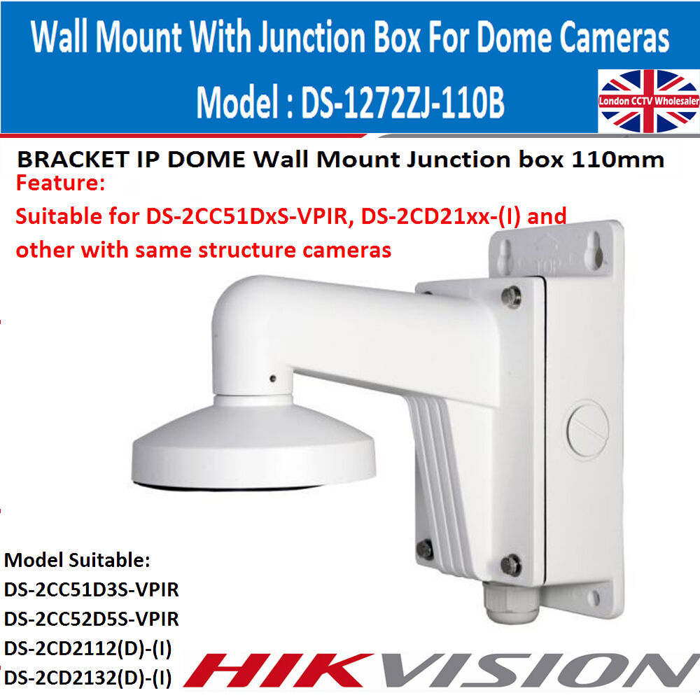 Hikvision ds 1272zj 110b dome camera wall mount bracket with hikvision ds 1272zj 110b dome camera wall mount bracket with junction box uk ebay sciox Choice Image