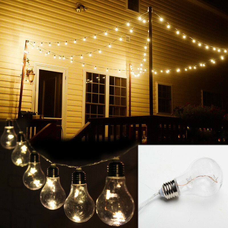 Outdoor String Lights Mains: Battery Powered Vintage Edison Bulb String Lights Garden