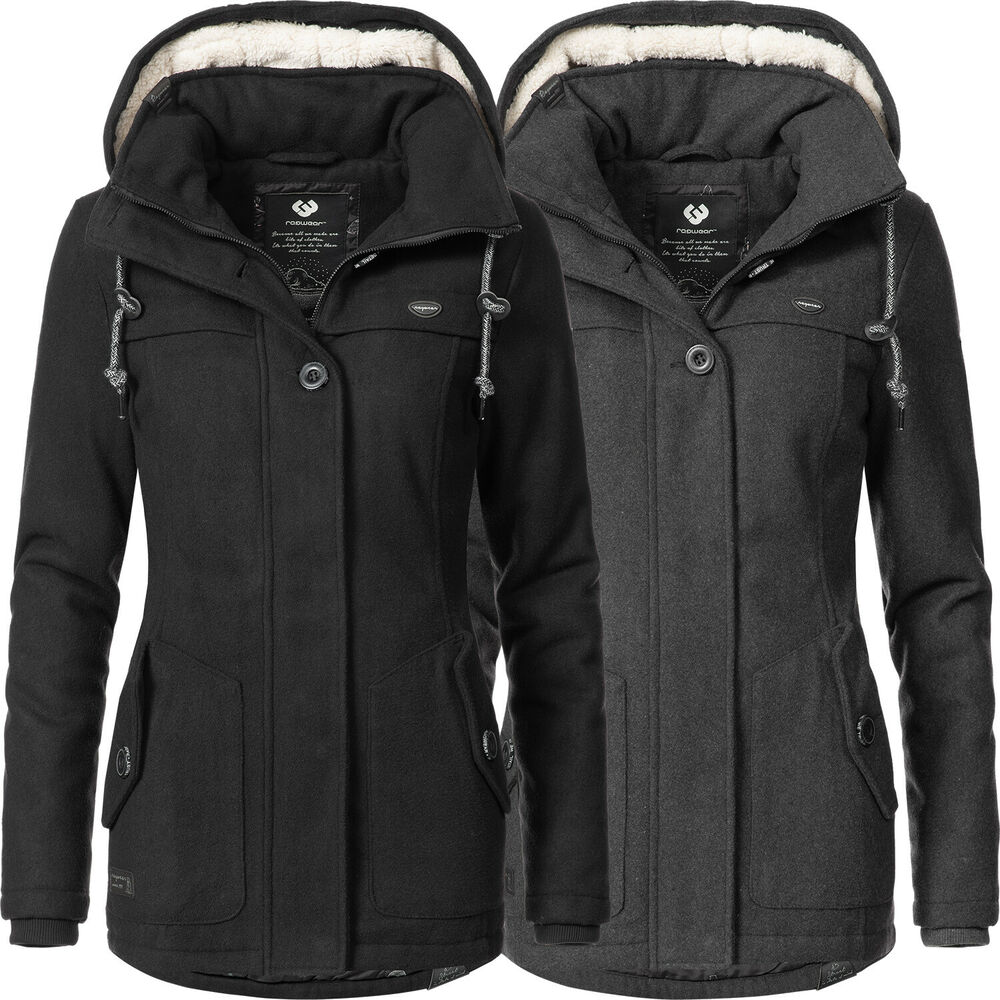 ragwear damen wollmantel winter mantel jacke parka teddy fell kapuze ym like you ebay. Black Bedroom Furniture Sets. Home Design Ideas