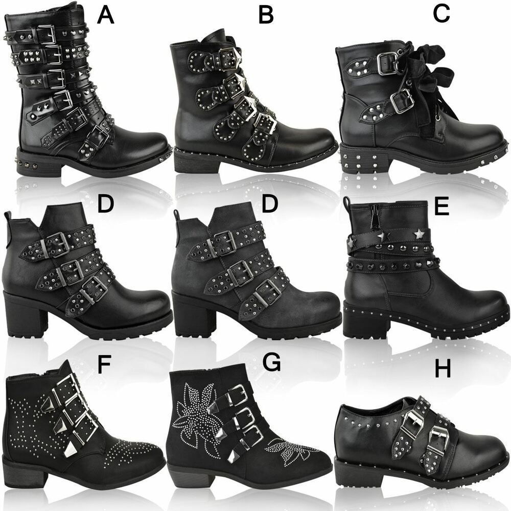 4c2d76c1e186 Details about Womens Ladies Studded Flat Ankle Boots Spikes Biker Punk  Chunky Winter Size UK