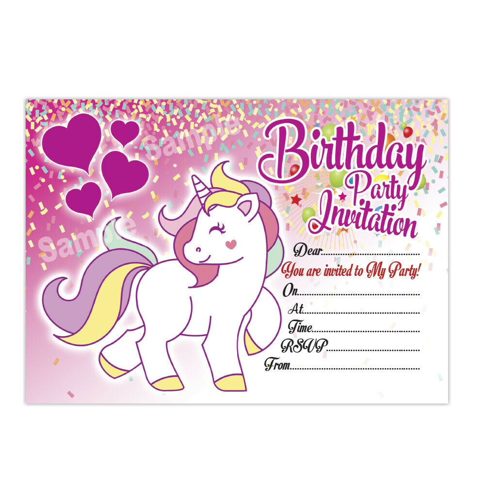 Details About 20 X Unicorn Birthday Invitations Kids Children S Party Invites