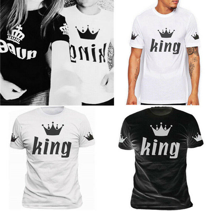 ba77d2adb6a4f6 Details about New Couple T-Shirt King And Queen Love Matching Shirts Summer Unisex  Tee Tops