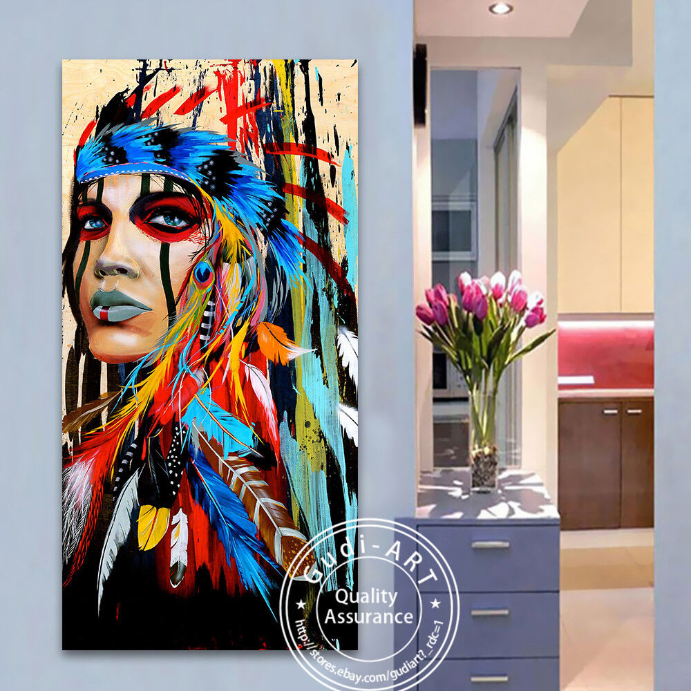 Gudi Large Canvas Abstract Cow Hand Painted Modern Oil Painting Home Decor Art