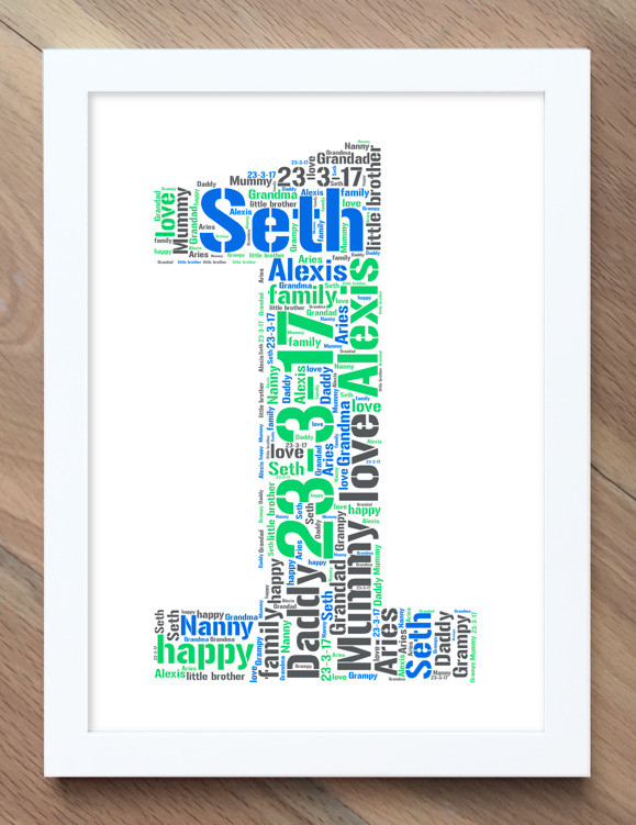 Details About 1St Birthday Gift Personalised Word Art Cloud Print