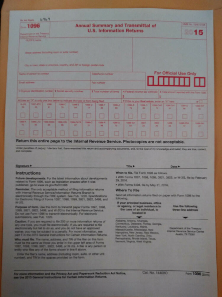 Year 2015 Irs Tax Form 1096 Annual Summary And Transmittal Use
