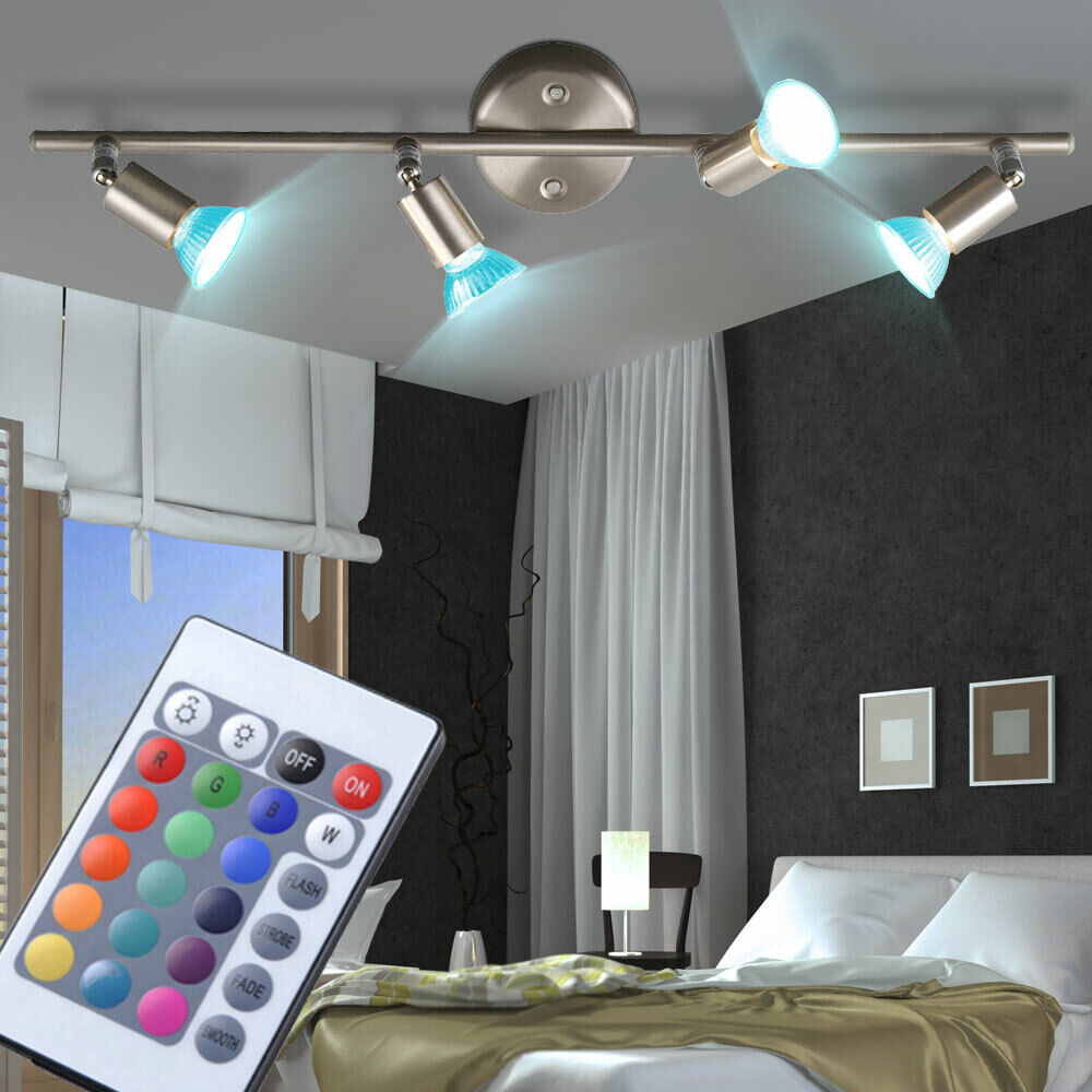 rgb led deckenstrahler schwenkbar wohnzimmer fernbedienung lampe dimmbar eek a ebay. Black Bedroom Furniture Sets. Home Design Ideas