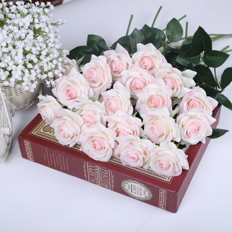 Real Vs Fake Flowers Wedding: Blush Pink Roses Real Touch Light Pink Flowers Silk Latex