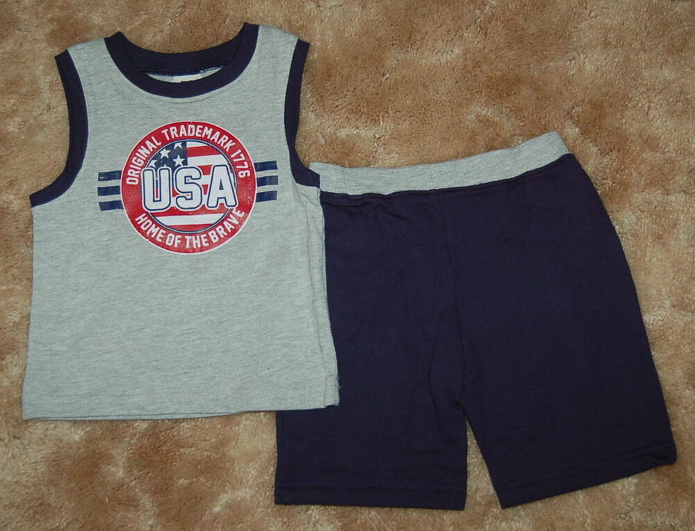 "INFANT//TODDLER BOYS 2PC /""USA/"" /""HOME OF THE BRAVE/"" SHORTS SET   SIZES 12 MOS 3T"