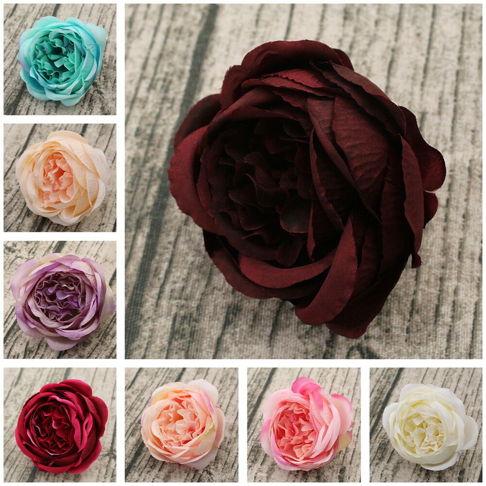Silk Flower Wedding Cake Toppers: 10 Silk Peonies Artificial Flowers Peony Heads For Wedding
