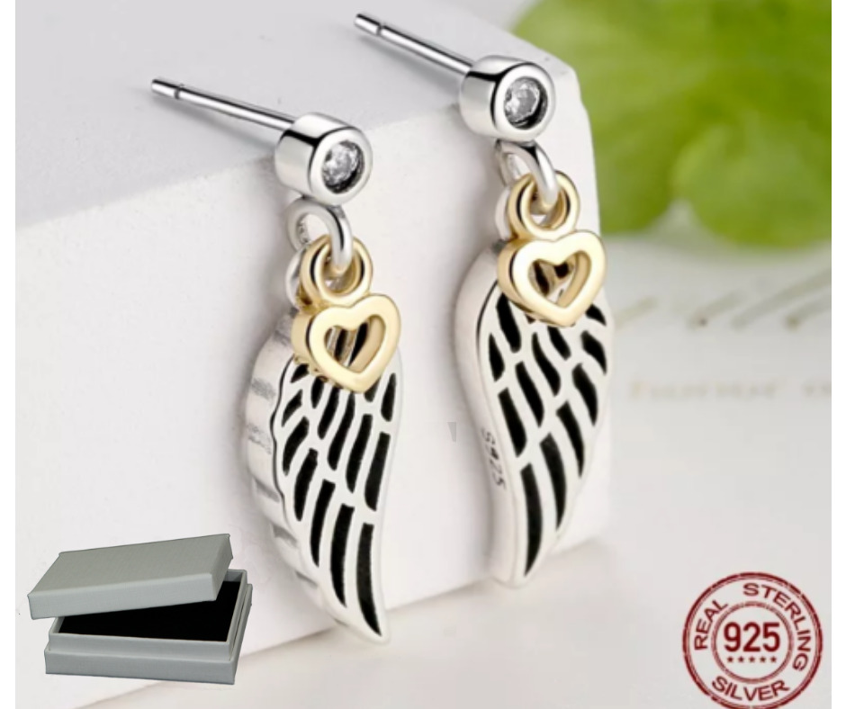 d54a64daa Details about 925 SILVER LOVE & GUIDANCE FEATHER LUCKY WING EARRINGS STUDS  GOLD HEART+gift box