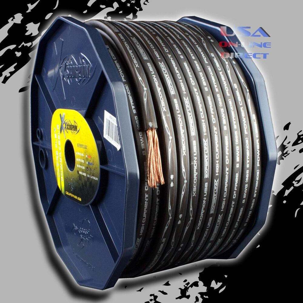 8 Gauge OFC Copper AWG BLACK Power Ground Wire Car Audio FLAT ...