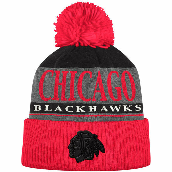 cab627b3013 Details about Chicago Blackhawks adidas Cuffed Knit Hat with Pom -  Heathered Gray Red