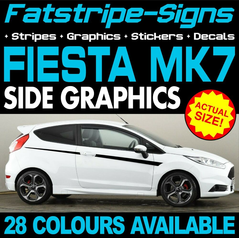Ford fiesta mk7 side stripes graphics decals stickers car st zetec 1 4 1 6 rs ebay