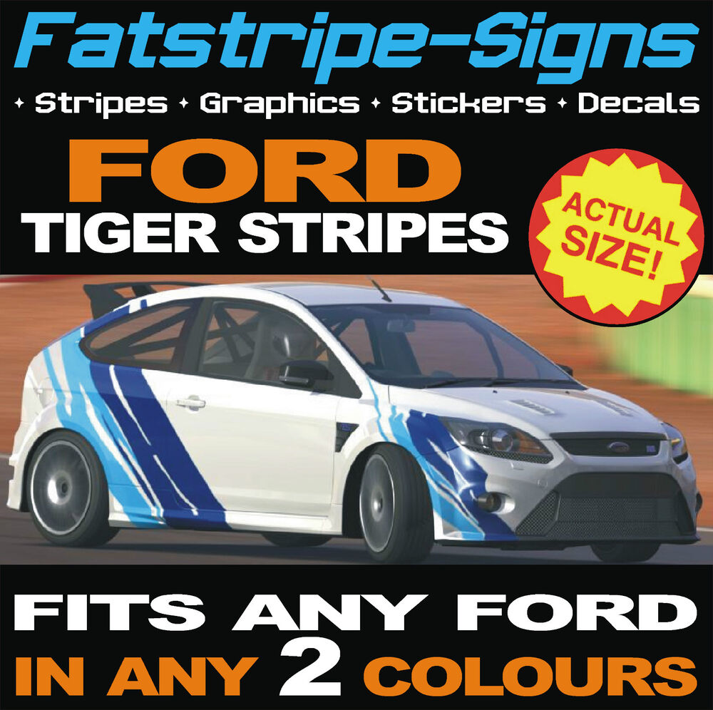 FORD TIGER STRIPES VINYL GRAPHICS STICKERS DECALS ESCORT FOCUS - Car decals designnew design full car body stickers for ford focus golf mg