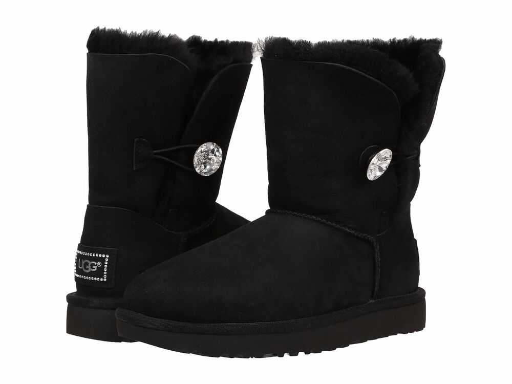 GENUINE UGG AUSTRALIA Women's Black Bailey Button Bling