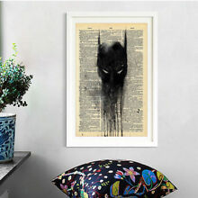 Batman Newspaper Style Oil Painting Print Art Canvas Home Living Room Wall Decor