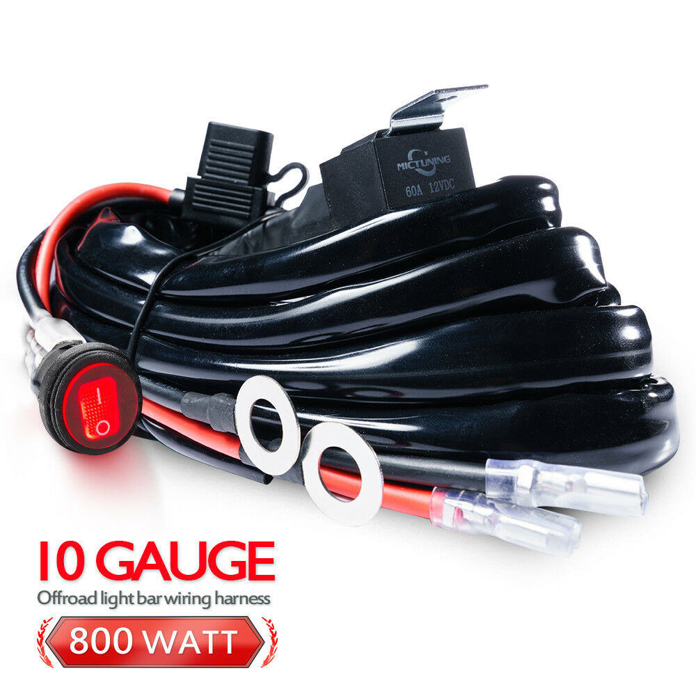 10 Gauge 800w 60amp Relay Wiring Harness Kit Led Light Bar Hd Mictuning Wire Diagram Waterproof Switch Ebay