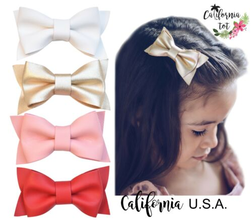California Tot Lot 4 Barrette Safety Leather Bow Hair Clip Toddler Girls-Deluxe