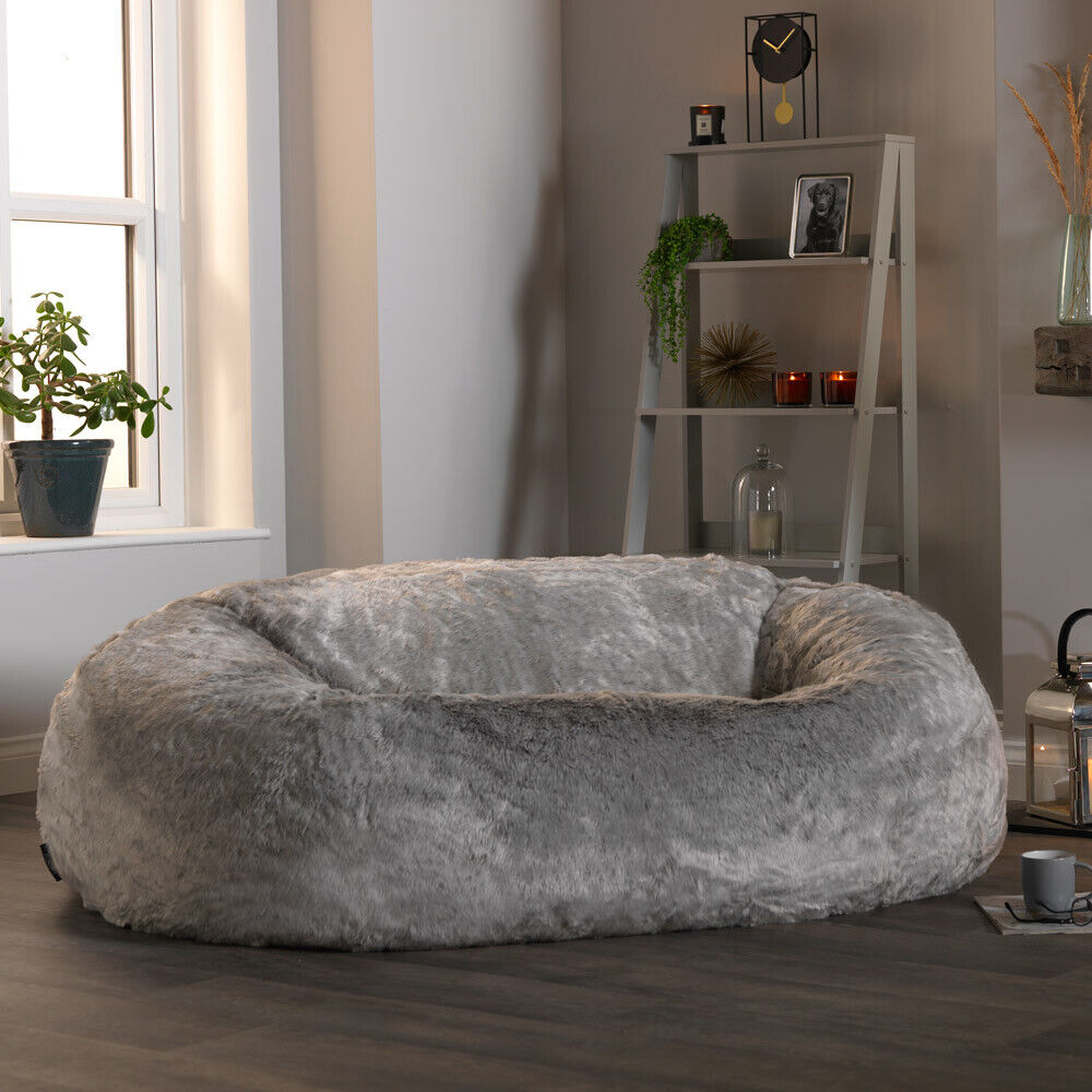 Extra Large Faux Fur Bean Bag Love Seat Sofa Two
