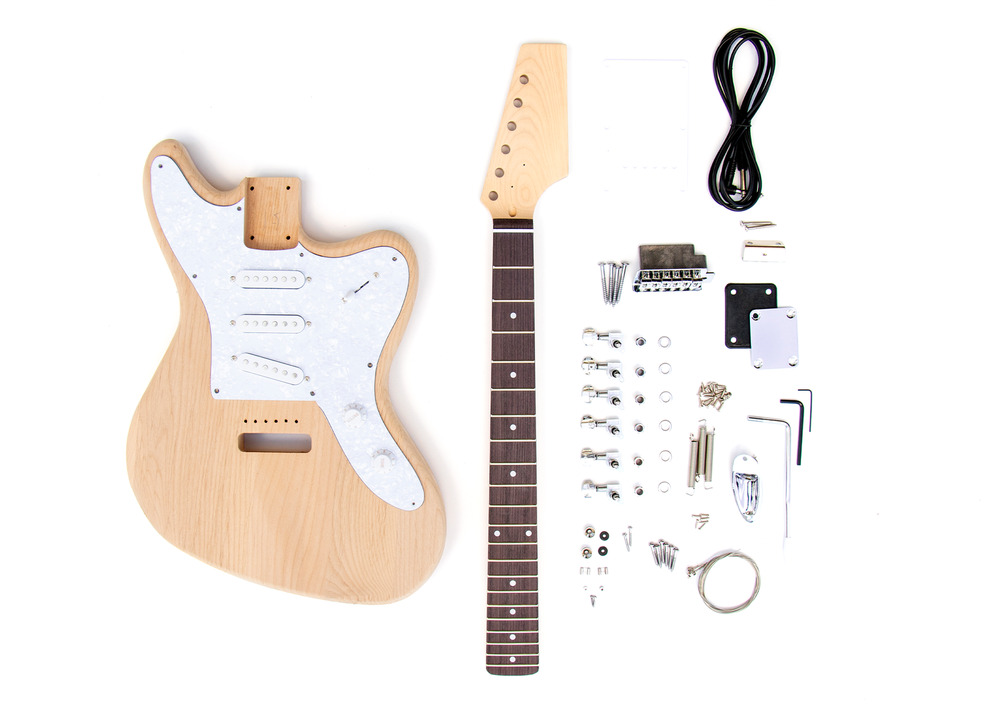 new diy electric guitar kit offset 3 single coil build your own guitar kit 767223142169 ebay. Black Bedroom Furniture Sets. Home Design Ideas